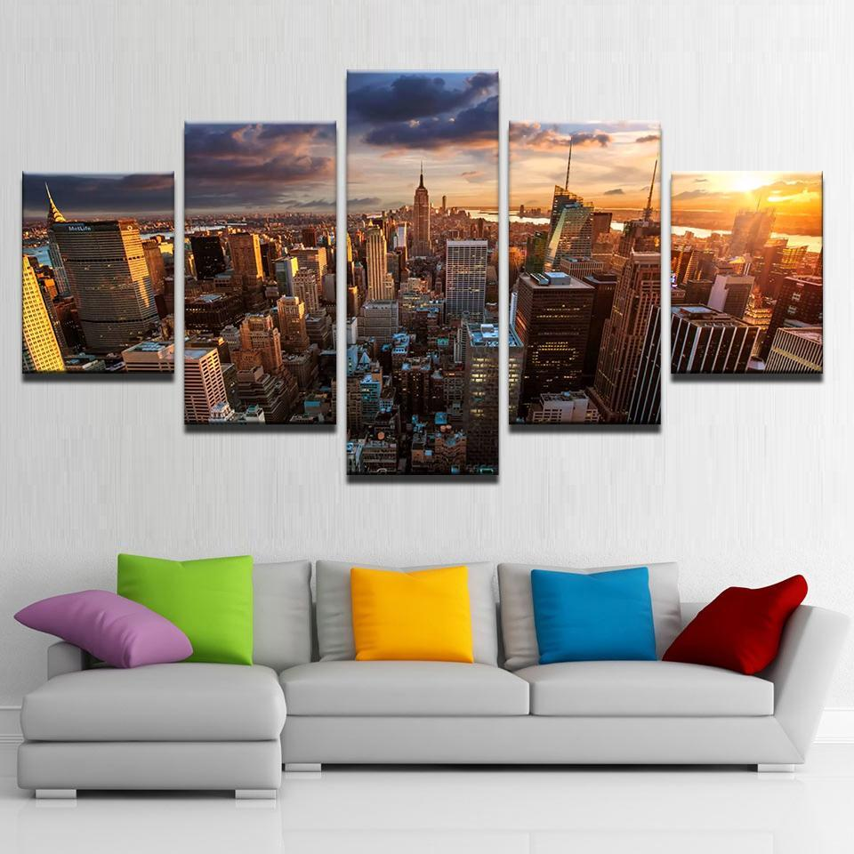 Large Framed Wall Art New York City Landscape Sunset: Canvas Wall Decor New York City Sunset Painting Pictures