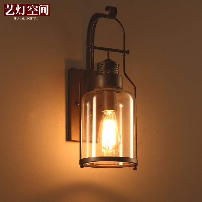 Nordic retro wall lights living room wall sconces industrial wind bedroom bedside wrought iron glass wall lamps