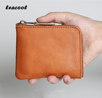 Leacool First Layer Cow Genuine Leather Wallet With Coin Pocket Men Bifold Zipper Crazy Horse Leather