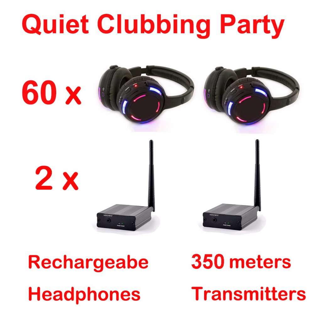 Silent Disco compete system 350m black led wireless headphones - Quiet Clubbing Party Bundle (60 Headphones + 2 Transmitters) 2 receivers 60 buzzers wireless restaurant buzzer caller table call calling button waiter pager system