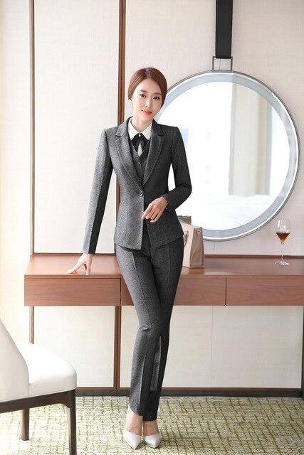 8289f9f296072 Professionale formale Tailleur Pantalone Donna di Affari di Usura del  Lavoro Vestiti di 3 pezzi Con