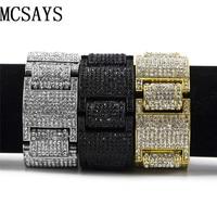 MCSAYS Men's Gold-color H Thick Iced Out Clear Cz Stones Hip Hop Bracelet 4 colors 9