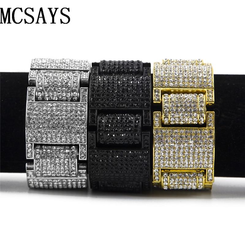 MCSAYS Men's Gold color H Thick Iced Out Clear Cz Stones Hip Hop Bracelet 4 colors 9 inches 4GM