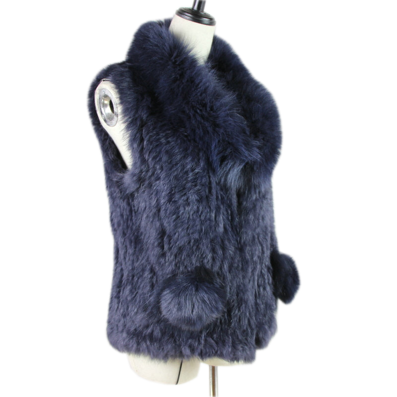 New Style Womens Natural Real Rabbit Fur Vest With Big Raccoon Fur Collar Deck On Pocket Waistcoat/jackets Rabbit Knitted Winter