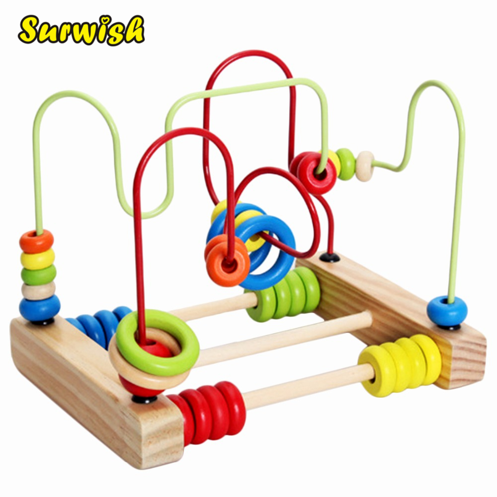 Surwish Counting Circles Perle Abacus Wire Maze Rollerbaner Wooden Montessori Educational Toy for Baby Kids Chilrden
