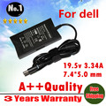Wholesale  AC Charger laptop adapter  For Dell Vostro1000 1400 A840 A860  XPSM140 M1210 19.5V 3.34A  7.4*5.0mm 65W Freeshipping