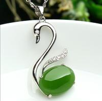 925 silver Gold Natural Green HeTian Yu Gem Stone Inlay Swan Design Lucky Pendant Necklace + certificate Fine Jewelry