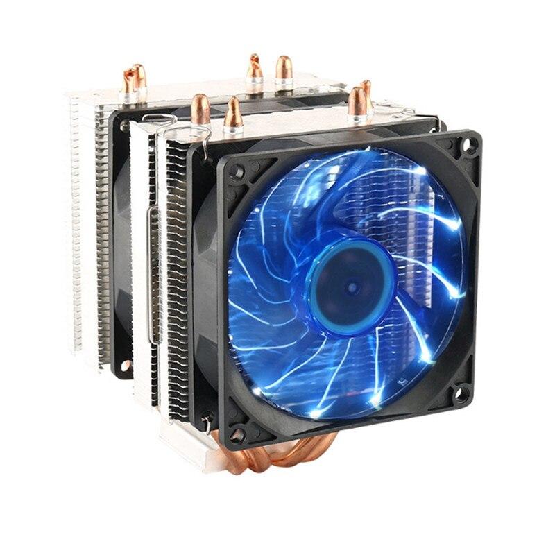 Doppia Ventola Heatpipe Radiatore CPU Cooler Ventola Di Raffreddamento del Dissipatore di Calore Per PC Caso Intel Intel LGA 2011/1366/1155/1156/775 AMD AM2/AM2 +/AM3