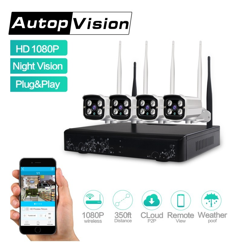 LS-WIFI 4CH 1080P HD Wireless Network IP Security Camera System WIFI NVR Kit 2.0 MP Outdoor Home Video Surveillance System