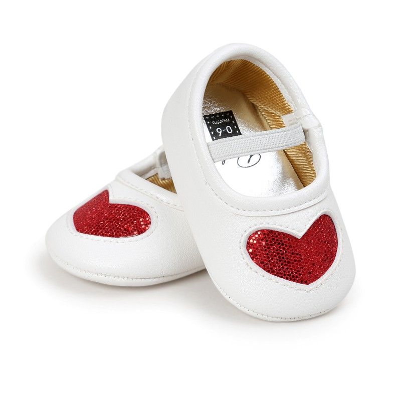 Baby PU Leather Shoes Baby Boys Girls First Walkers Bling Heart Shape Soft Sole Crib Toddler Shoes J2