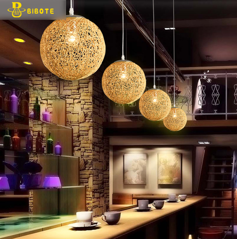 Hemp Ball Chandelier European Fashion Contracted Contemporary Dining room Light Rural Cany Art Pendant Lamp Sitting Room Bedroom nordic contemporary and contracted sitting room bedroom art creative personality restaurant lighting wholesale rural birds lamps