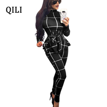 QILI Women England Style Plaid Jumpsuits Stand Neck Long Sleeve Skinny Pants Jumpsuit Fake 2 Piece Fashion Bodycon