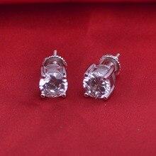 LSE935 серьги-гвоздики бриллиант в круглой огранке с закручивающаяся задняя часть серебряные серьги 925 Пробы 7 мм