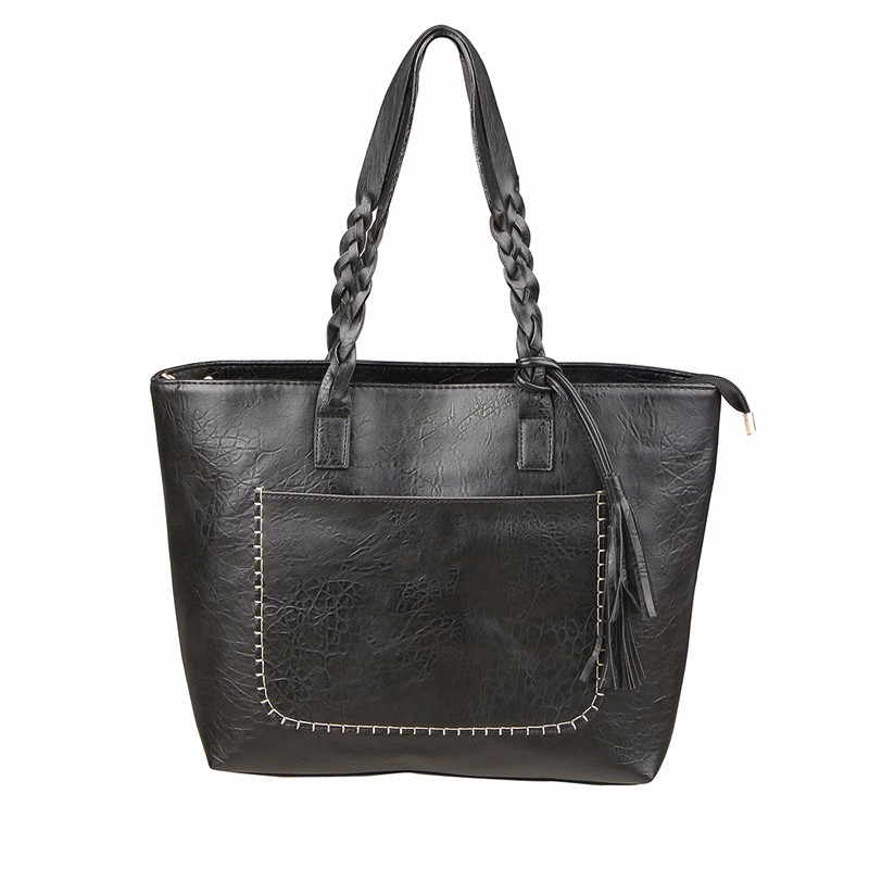 0e3a2d373cd4 Fashion Women PU Leather Bag Tassel Handbags Women Big Totes Bags Luxury Designer  High Quality sac a main big Shoulder Bag