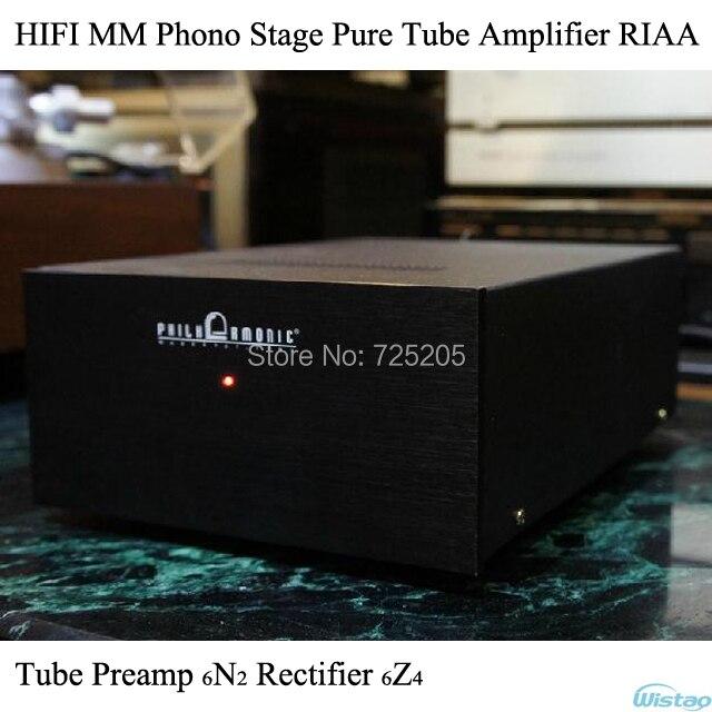IWISTAO HIFI MM Phono Stage Tube Pre-Amplifier Stereo Audio Pure Tube Preamp 6N2 Rectifier 6Z4 Vinyl LP Amp RIAA Black iwistao 2x20w hifi amplifier stereo
