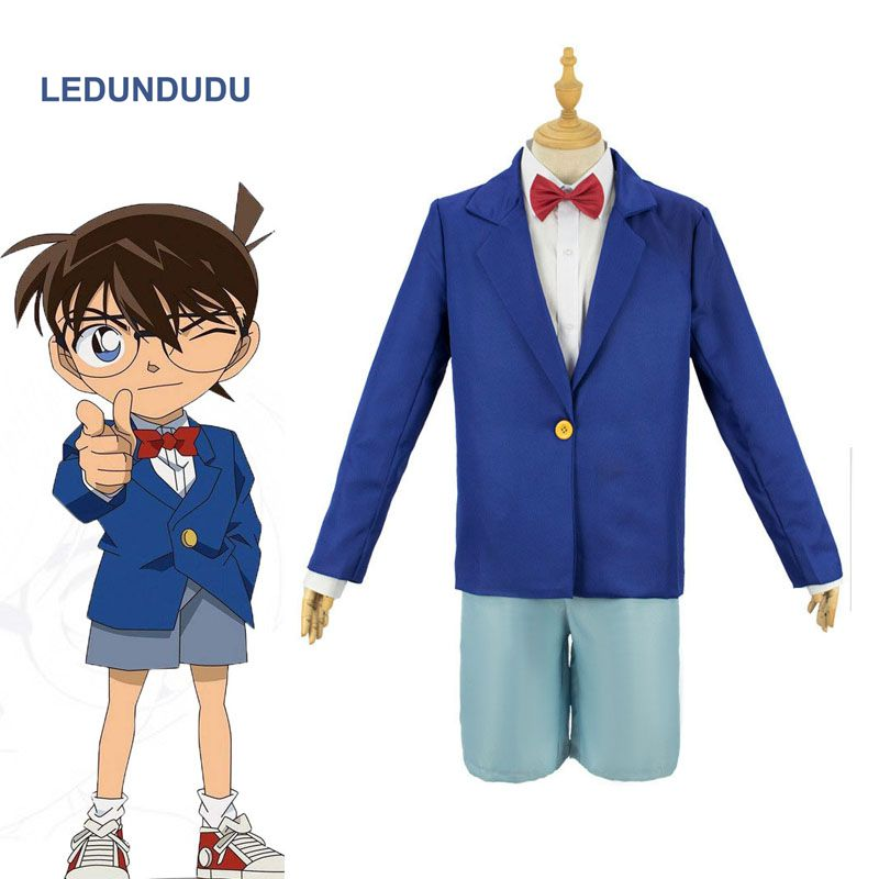 Anime Detective Conan Suit Case Closed Blue Uniform Kids Adults Cosplay Costumes