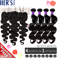 4 Bundles Indian Virgin Hair Body Wave With Lace Frontal Closure,13x4 Swill Lace Frontal Closure with Bundles,With Baby Hair