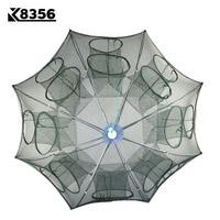 K8356 Strengthened 4 16 Holes Automatic Fishing Net Shrimp Cage Nylon Foldable Crab Fish With Zipper