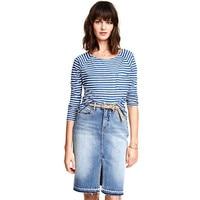 Hot Selling Women's Frayed Edges Split Enzyme Wash Asymmetrical Casual High Waist Knee-Length Skirts