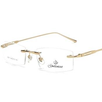 KOTTDO 2017 mới thời trang vòng titanium linh hoạt không có vành kính khung cho nam giới hoặc phụ nữ Không Có Ống Kính khung vàng với kính 3 màu