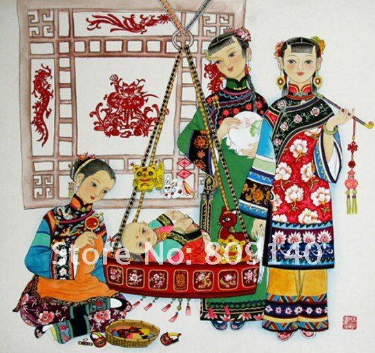Oil Painting Lady Portrait Decoration Chinese Family Ancient Culture High Quality Hand Painted Home Decor Wall