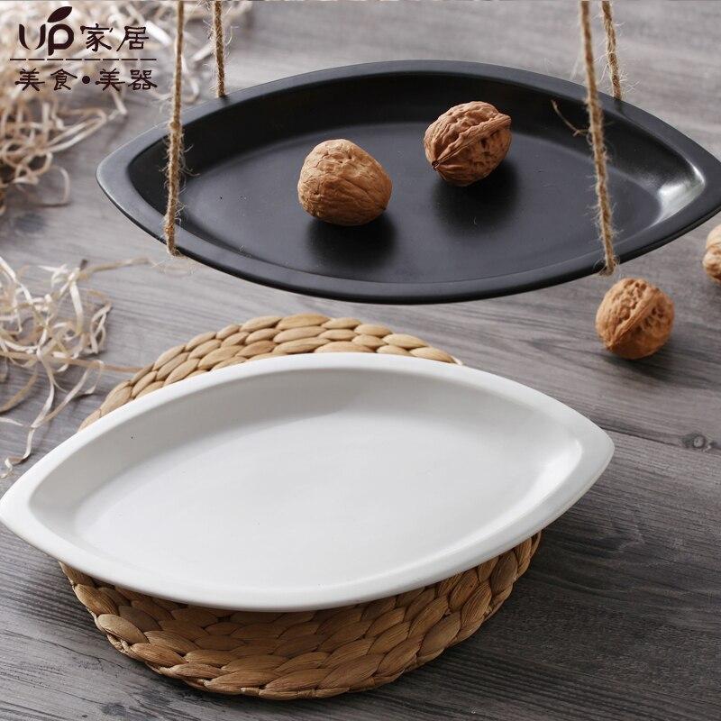 Western Salad Dishes: Ceramic Dish Black Scrub Dinner Plates Plato Oval Dim