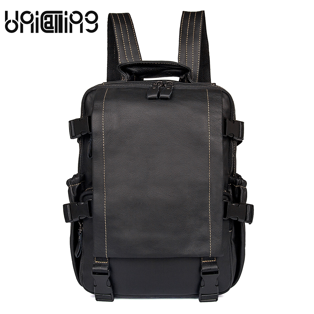 UniCalling Fashion Brand Unisex backpack Solid Color cow leather men laptop backpack large capacity Genuine Leather backpack men men backpack leather fashion real cow leather backpack for men leisure men genuine leather 14 laptop backpack safe back zipper