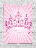 Queen Tapestry Childhood Theme Pink Heart Shaped Princess Crown on Radial Backdrop Girls Room, Wall Hanging for Bedroom Living