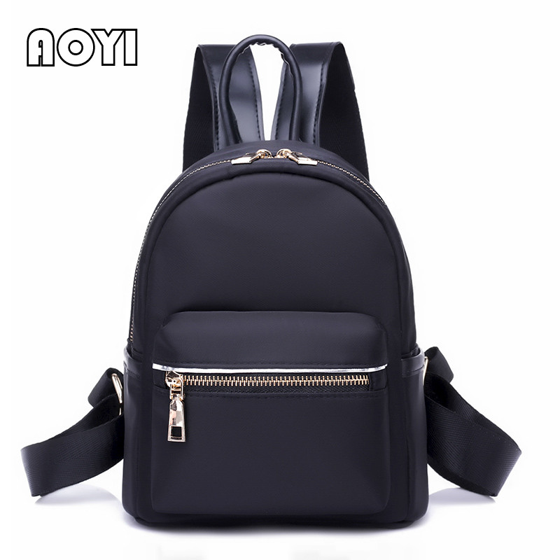AOYI Preppy Style Women Backpack Nylon Lady Backpack Travel Bag School Back Bags for Teenagers Female Small Shoulder Bag Mochila students 16 inch laptop backpack women oxford shoulder bag school computer travel backpacks preppy style bags for teenagers