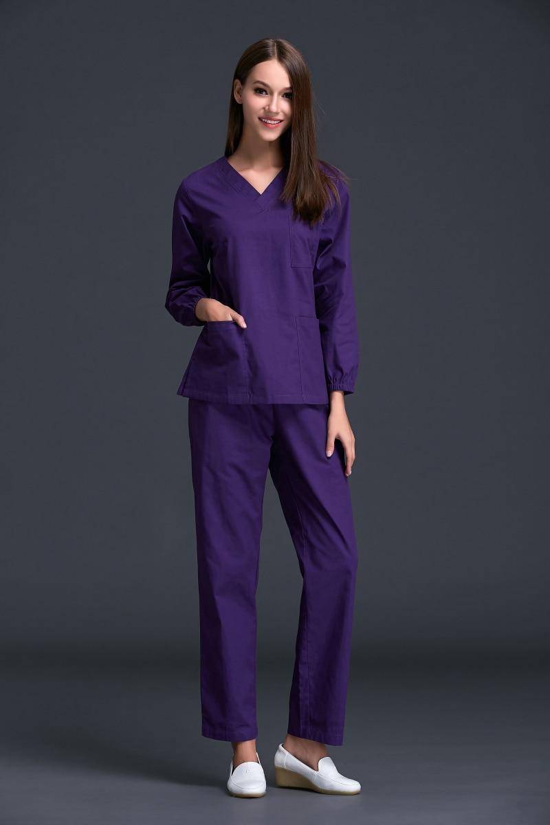 16ae9abdc6a Winter Medical Woven Scrubs Women 2017 New Women's Long Sleeve Scrub  Uniforms Set Dental Hospital Clothes