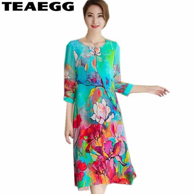 US $21.7 44% OFF|TEAEGG 3/4 Sleeve Spring Summer Dress Plus Size 3XL  Vestido Mujer Verano 2019 Floral Dress Chiffon Ladies Womens Dresses  AL1040-in ...