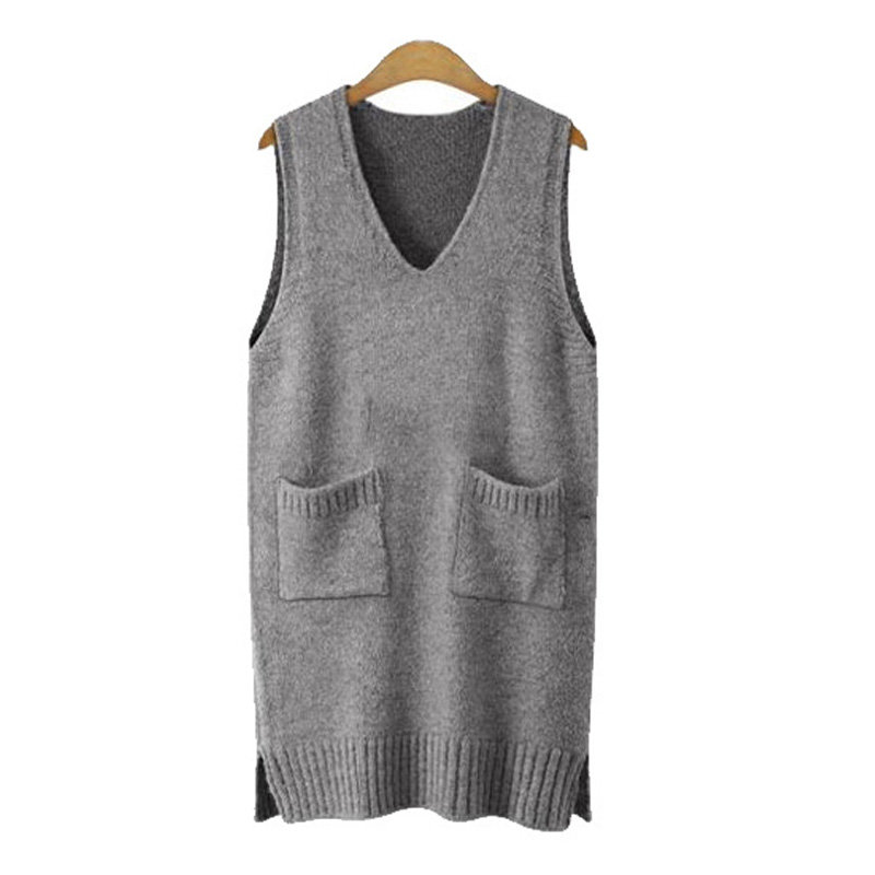 Sweater Dress Knitting Dress 2019 Women Sleeveless Vest Sweater Both Sides Split Femme Pullover Sweater Loose Vestidos Gray
