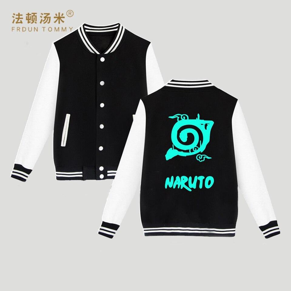 Frdun Tommy Naruto Baseball Jacket Capless Sweatshirt Women/Men Hoodie Classic Japanese Anime Winter Fashion Jacket Clothe