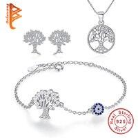 BELAWANG 100 925 Sterling Silver Tree Collection Jewelry Sets For Women Stud Earrings Bracelets Necklace Luxury