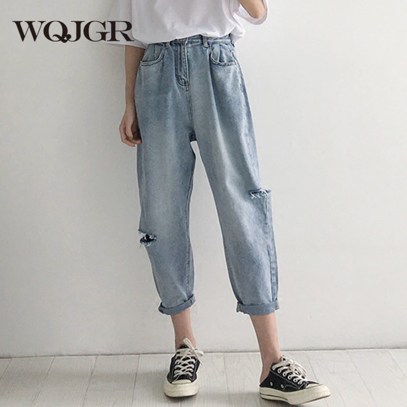 WQJGR 2018 Summer Holes Haren Pants Jeans Woman Easy Long Fund Loose And Comfortable Nine Part Pants 1