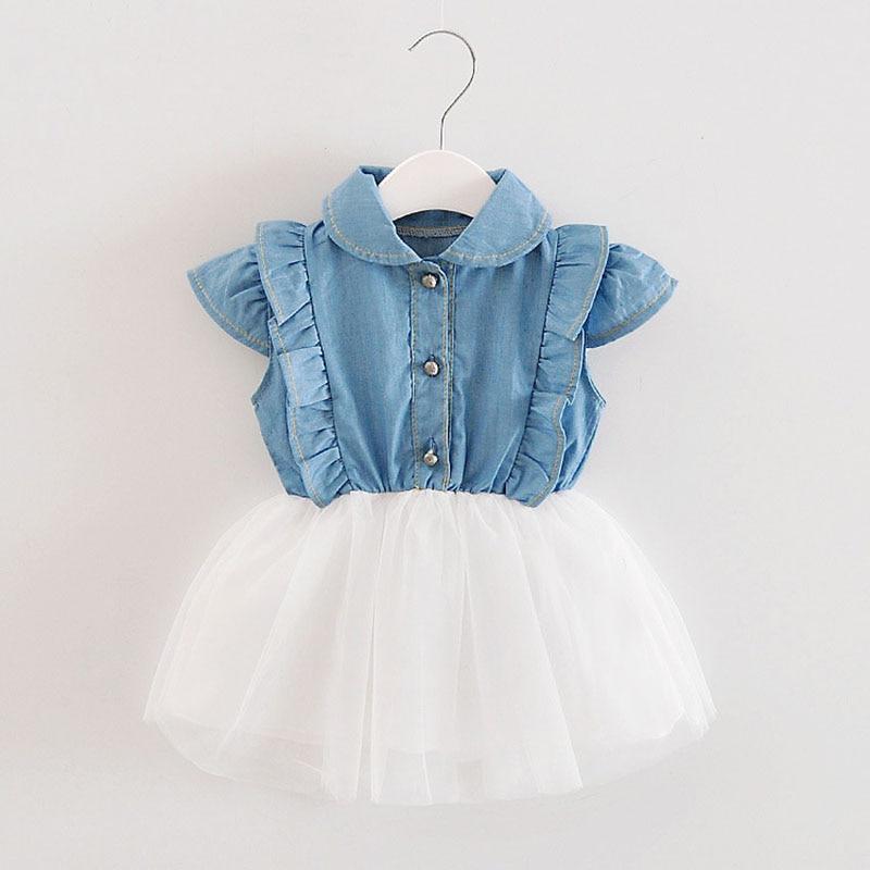 Zomer meisjes kanten jurk baby denim katoen bebe chiffon cowboy net garen tutu jurk kinderen baby schattige partij prinses jurken