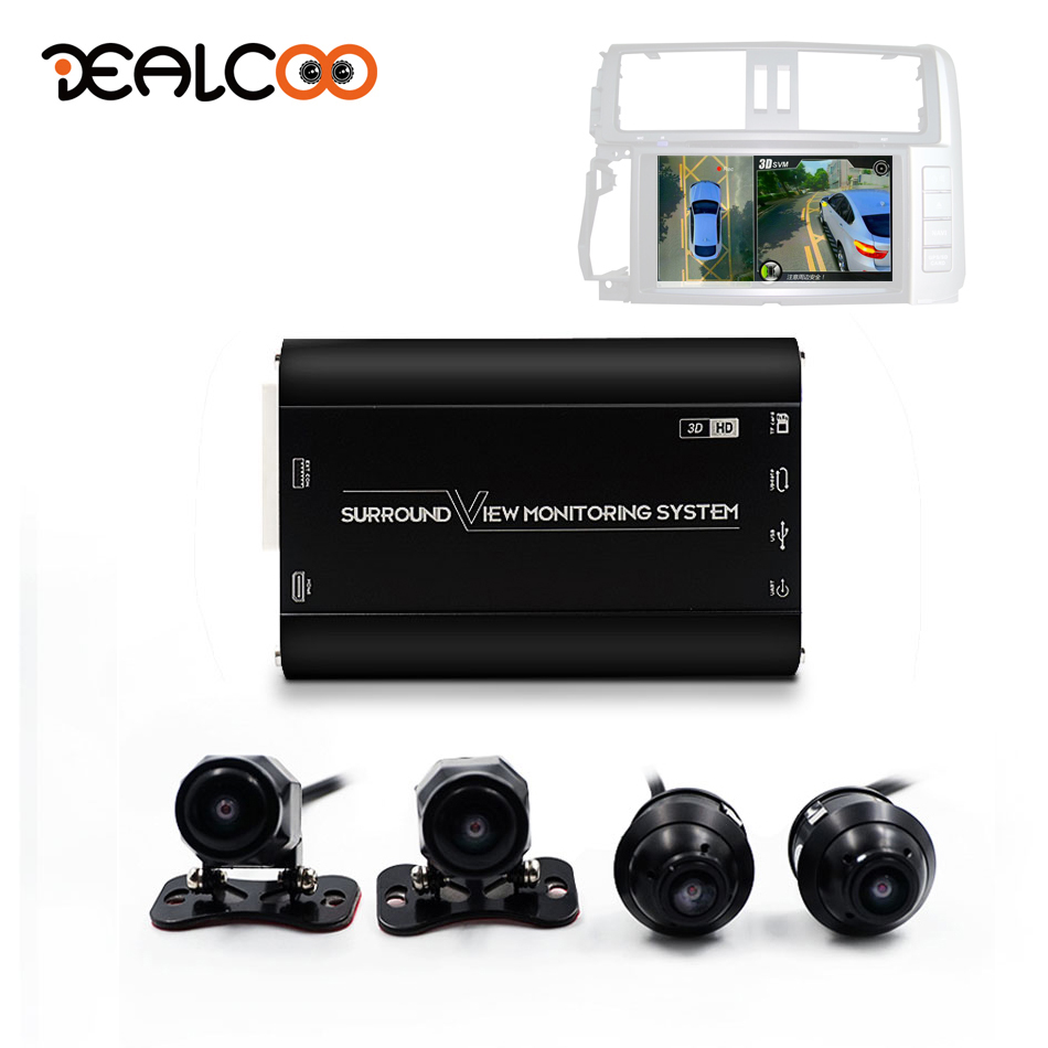 Dealcoo Surround View Dash Cam HD Around View Bird View 360 Car Camera System 3D Camera 360 Camera for Car All Round View Camera