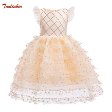 Gold Pegeant Sequined Kids Dresses For Girls Wedding Party Princess Dresses Baby Girls First Communion Layered Tutu Dresses New ship out after 20 days moq 5 pieces in same sizes same color 5390 unicorn layered baby girls dresses brithday kids dresses
