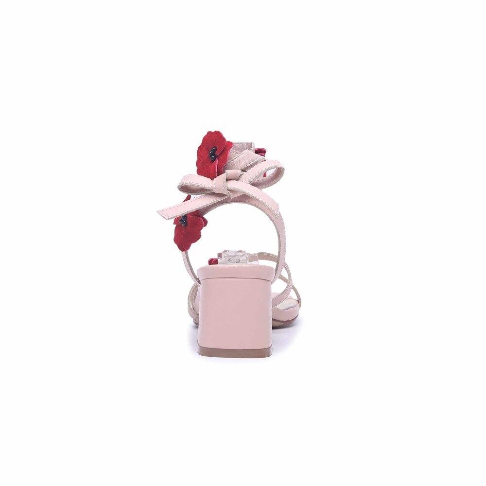 Krazing Sandalen Rosa Pot Streetwear High Naturleder Farbe Peep Heels Moderne Blumen Dicke S Toe OXN0k8wZnP