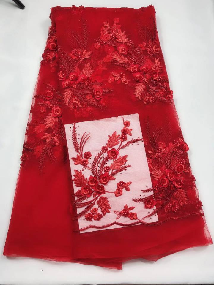 5Yards pc Top grade red french net lace fabric with beads and flower embroidery african mesh