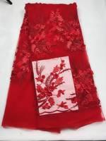 5 ярдов/шт высший сорт красный французский чистая кружевная ткань с бисером и цветочной вышивкой африканская сетка кружева для платья QN91 6