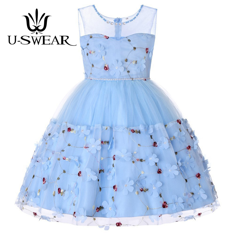 U-SWEAR 2019 New Arrival   Flower     Girl   Pageant   Dresses     Flower   Applique Chiffon Lace Bow   Flower     Girls     Dress   For Party And Wedding
