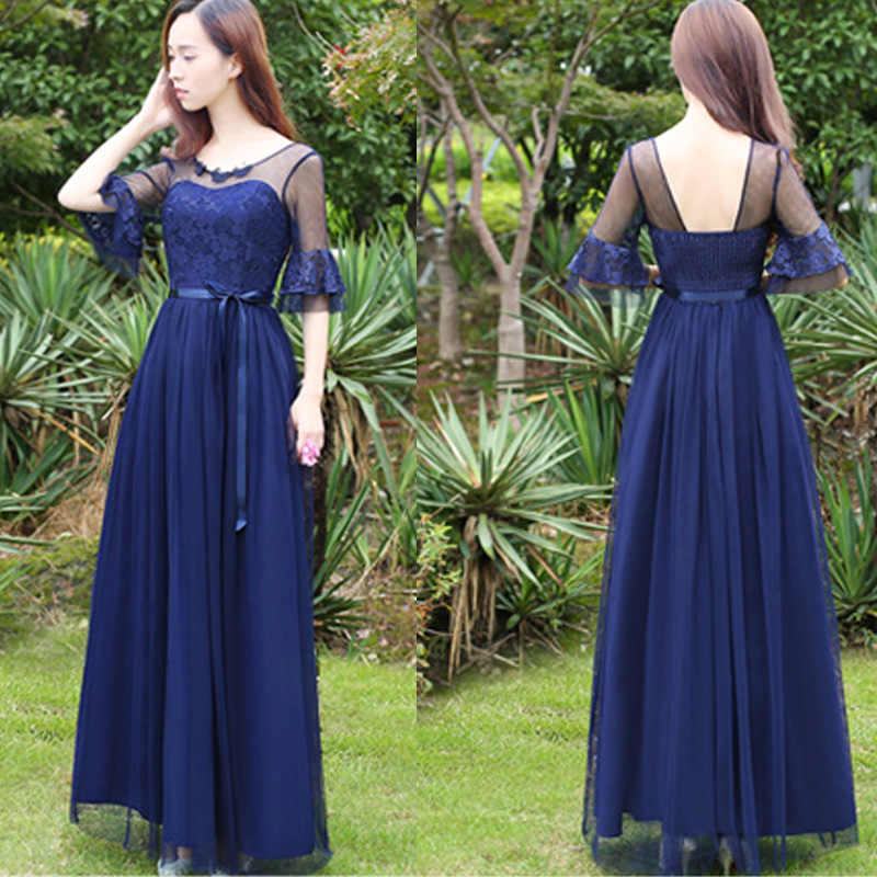 68ff205717 Teenager Summer Lace Fitted Maxi Dress and Graduation Evening Gown Mesh  Lace Cape Navy Blue Formal Dress for College Students
