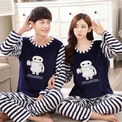 Пара пижамы набор осенне-зимней моды спортивный костюм хлопка с длинными рукавами пижамы мужчины и женщины пижамы