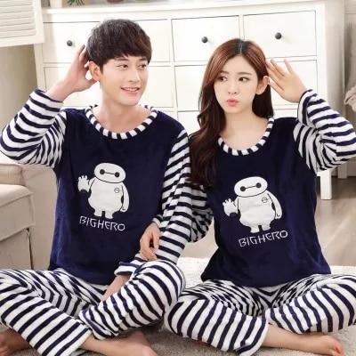 couple pajama set autumn and winter fashion tracksuit cotton long-sleeved sleepwear men and women pyjamas