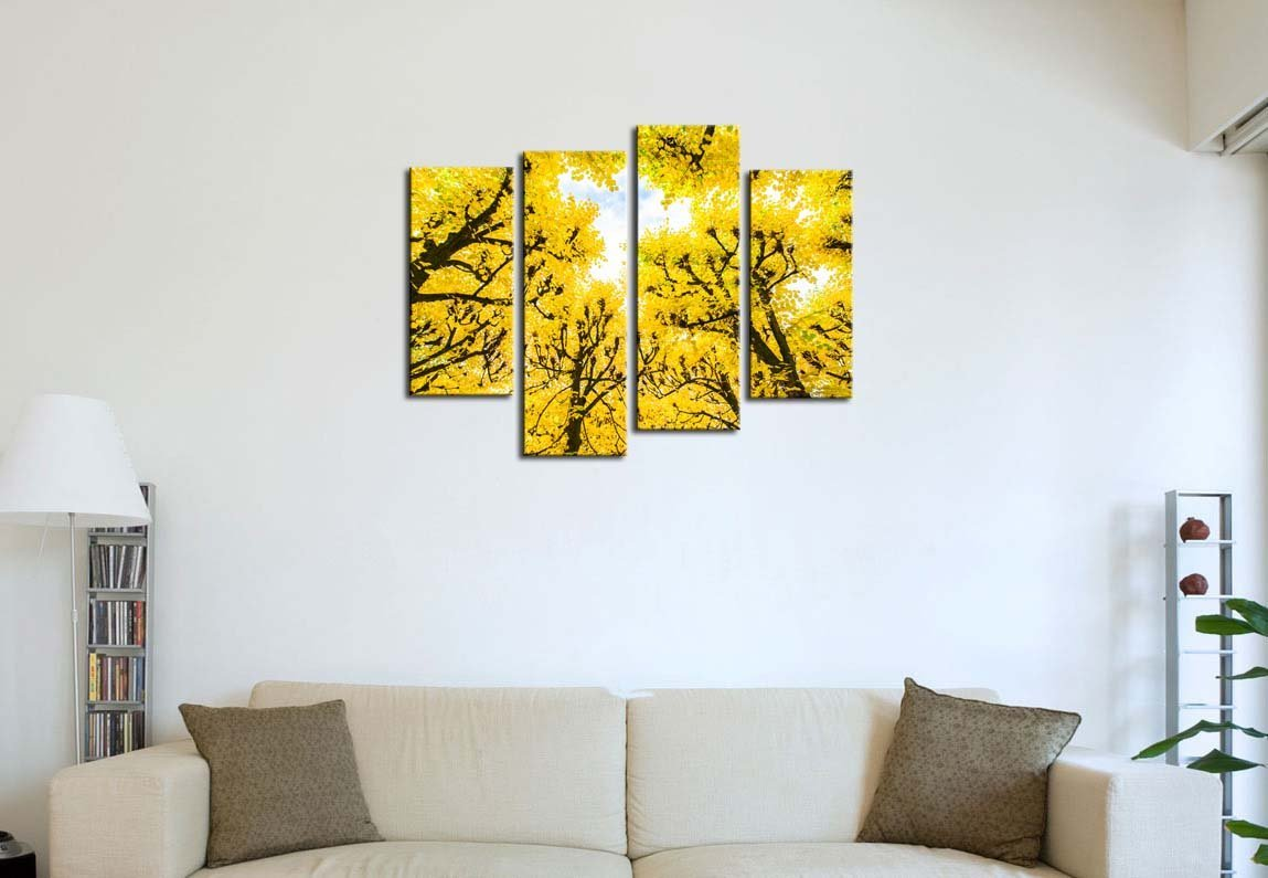 4 Pieces Modern Canvas Painting Wall Art Autumn Leaves Forest ...
