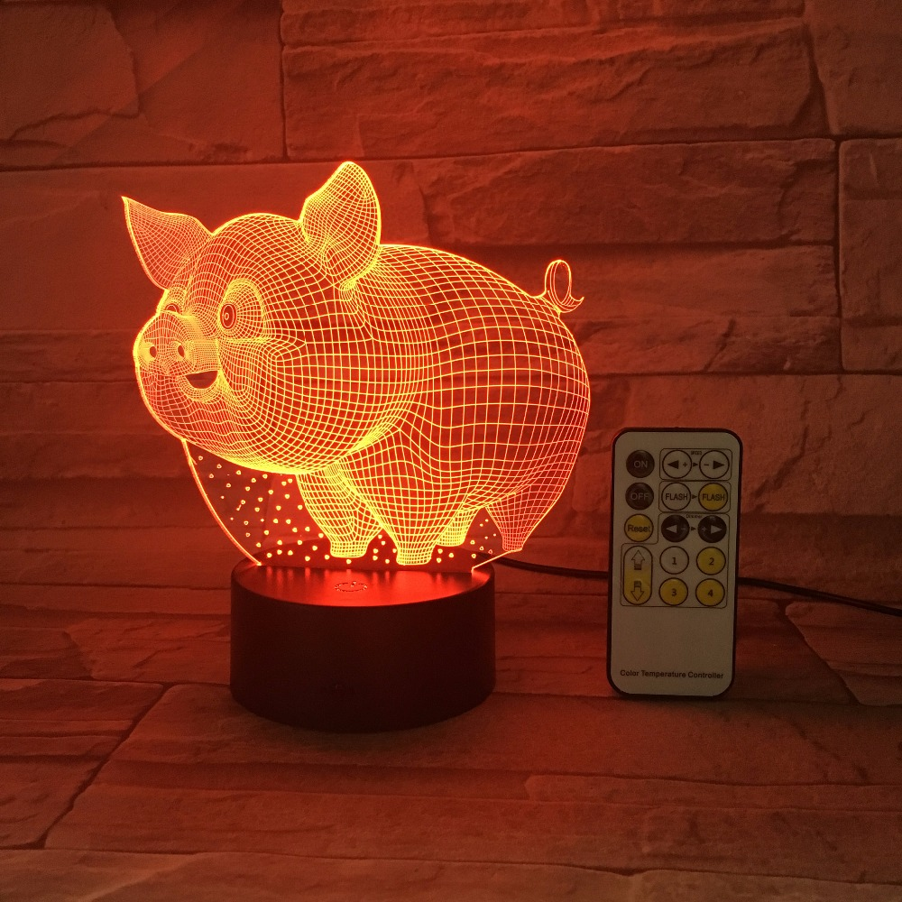 Remote Or Touch Control Colorful Pig 3D LED Night Light 5V USB Creative Small Acrylic Led Table Lamp Self Gifting Home Deco Gift