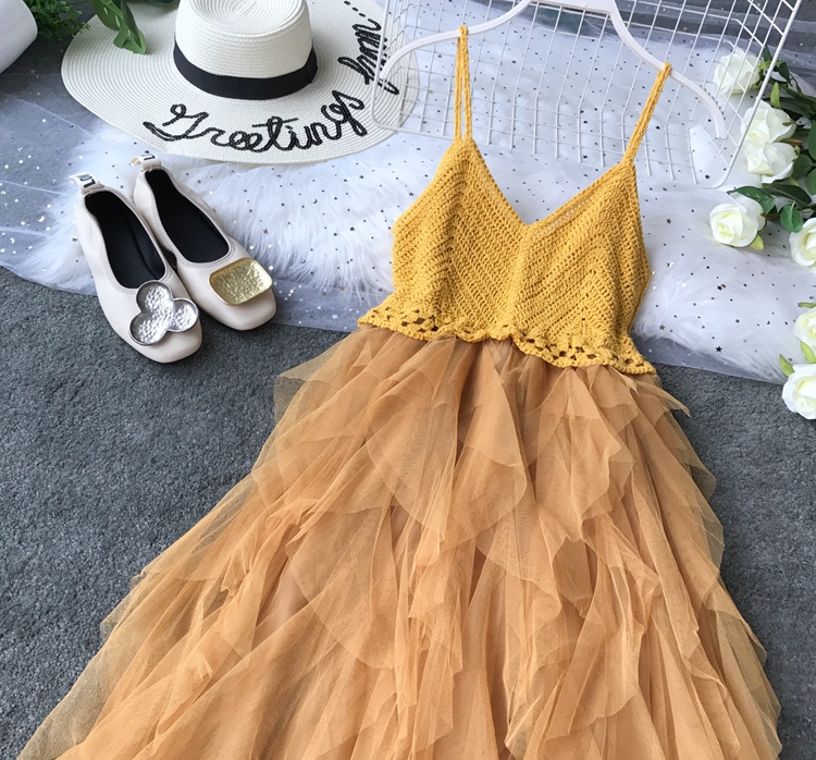 2019 Summer New Sexy Suspender Brassiere Mesh Dress Summer Knitted Stitching Playful Ruffled Gauze Patchwork Vestidos 14