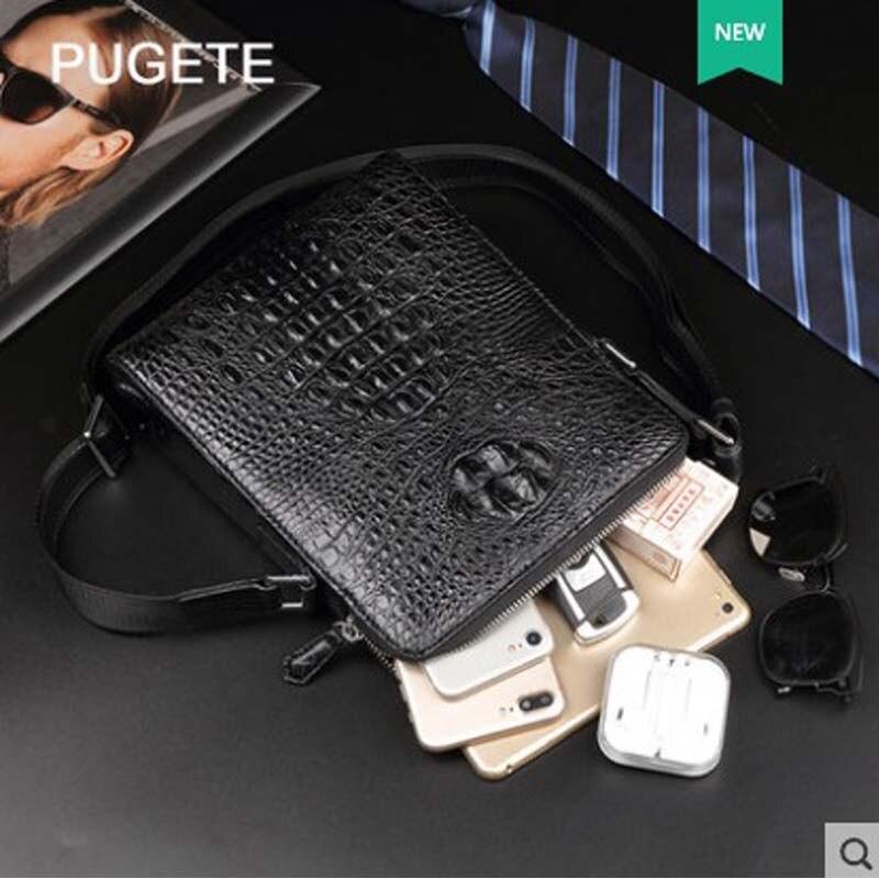 Pugete 2019 Новая мужская сумка из крокодиловой кожи, кожаная деловая сумка на одно плечо, молодежная сумка для отдыха, модная мужская сумка из крокодиловой кожи - 5