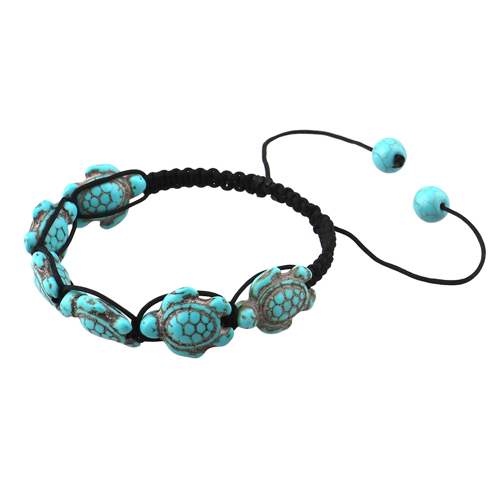 New Style Boho Fashion Wrap Jewelry Cute Turtle Beads Bracelets For Women Adjustable Black Rope Braided Hand Chain Bracelet Gift